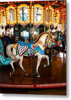 Metal Print featuring the photograph Colorful Carousel Horse by Jerry Cowart