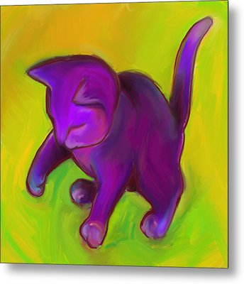 Colorful Cat 7 Metal Print by Anna Gora