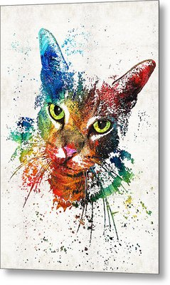 Colorful Cat Art By Sharon Cummings Metal Print by Sharon Cummings