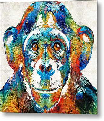 Colorful Chimp Art - Monkey Business - By Sharon Cummings Metal Print by Sharon Cummings