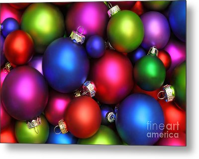Colorful Christmas Ornaments Metal Print