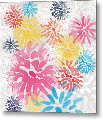 Colorful Chrysanthemums- Abstract Floral Painting Metal Print by Linda Woods