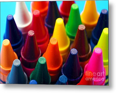 Colorful Crayons Closeup Metal Print by Danny Hooks