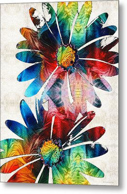 Colorful Daisy Art - Hip Daisies - By Sharon Cummings Metal Print by Sharon Cummings
