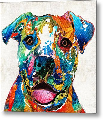 Colorful Dog Pit Bull Art - Happy - By Sharon Cummings Metal Print