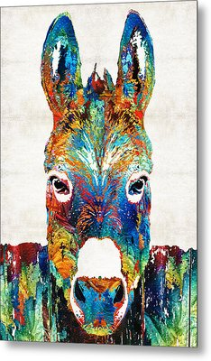 Colorful Donkey Art - Mr. Personality - By Sharon Cummings Metal Print by Sharon Cummings