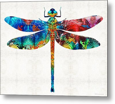 Colorful Dragonfly Art By Sharon Cummings Metal Print