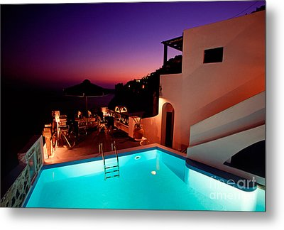 Colorful Dusk In Santorini Metal Print by Aiolos Greek Collections