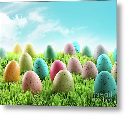 Colorful Easter Eggs In A Field Of Grass Metal Print by Sandra Cunningham