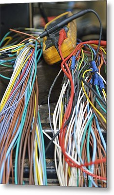 Colorful Electrical Wires And A Voltmeter Metal Print by Sami Sarkis