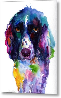 Colorful English Springer Setter Spaniel Dog Portrait Art Metal Print by Svetlana Novikova