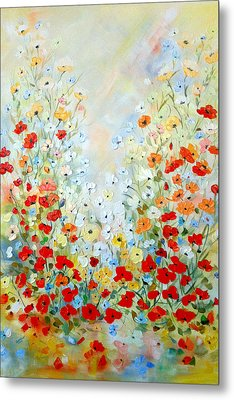 Colorful Field Of Poppies Metal Print by Dorothy Maier