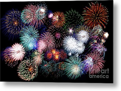 Colorful Fireworks Of Various Colors In Night Sky Metal Print by Stephan Pietzko