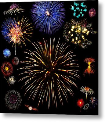 Colorful Are Fireworks Metal Print by Stanley Mathis