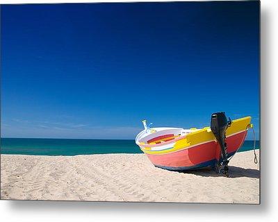 Colorful Fishing Boat Algarve Portugal Metal Print by Amanda Elwell