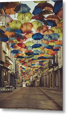 Colorful Floating Umbrellas II Metal Print by Marco Oliveira