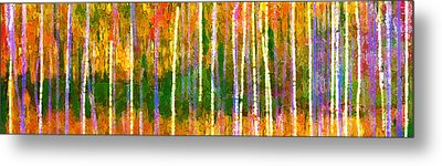 Colorful Forest Abstract Metal Print by Menega Sabidussi
