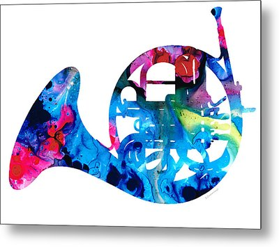 Colorful French Horn 2 - Cool Colors Abstract Art Sharon Cummings Metal Print by Sharon Cummings