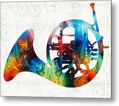 Colorful French Horn - Color Fusion By Sharon Cummings Metal Print by Sharon Cummings