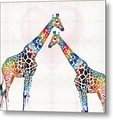 Colorful Giraffe Art - I've Got Your Back - By Sharon Cummings Metal Print by Sharon Cummings