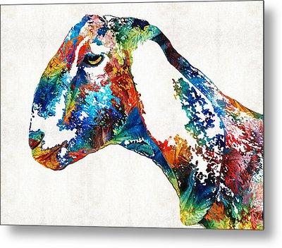 Colorful Goat Art By Sharon Cummings Metal Print