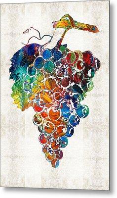 Colorful Grapes Fruit Art By Sharon Cummings Metal Print by Sharon Cummings