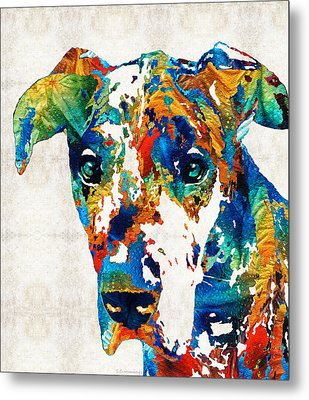 Colorful Great Dane Art Dog By Sharon Cummings Metal Print