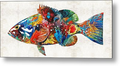 Colorful Grouper Art Fish By Sharon Cummings Metal Print by Sharon Cummings