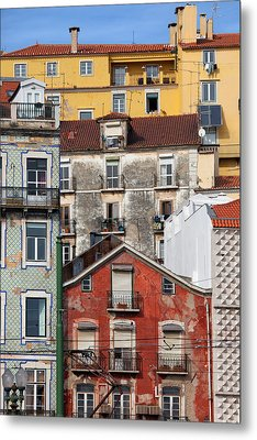 Colorful Houses In The City Of Lisbon Metal Print by Artur Bogacki