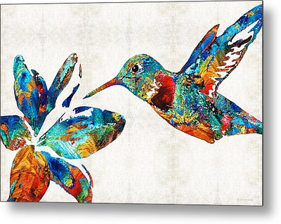 Colorful Hummingbird Art By Sharon Cummings Metal Print by Sharon Cummings