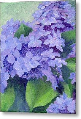 Colorful Hydrangeas Original Purple Floral Art Painting Garden Flower Floral Artist K. Joann Russell Metal Print