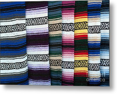 Metal Print featuring the photograph Colorful Indian Rug Display by Gunter Nezhoda
