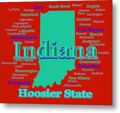 Colorful Indiana State Pride Map Silhouette  Metal Print by Keith Webber Jr