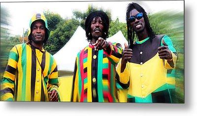 Colorful Jamaican Stilt Walkers Metal Print