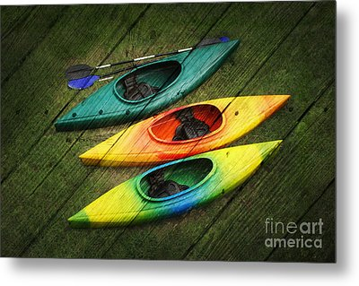 Colorful Kayaks Metal Print by Suzi Nelson