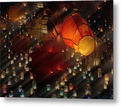Colorful Lanterns Metal Print by Zinvolle Art