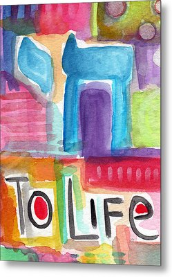 Colorful Life- Abstract Jewish Greeting Card Metal Print by Linda Woods