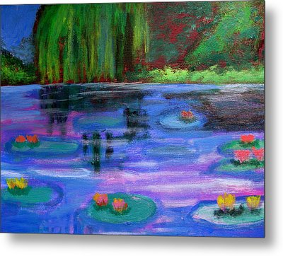 Colorful Lilly  Pad Flowers After Monet Metal Print