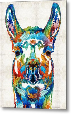 Colorful Llama Art - The Prince - By Sharon Cummings Metal Print by Sharon Cummings