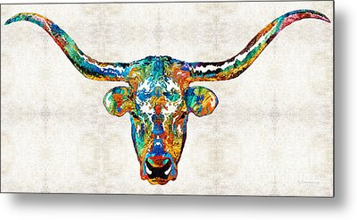 Colorful Longhorn Art By Sharon Cummings Metal Print by Sharon Cummings