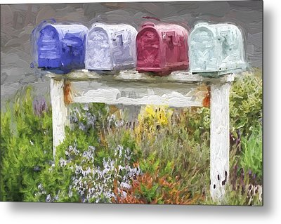 Colorful Mailboxes And Flowers Painterly Effect Metal Print