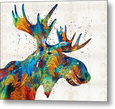 Colorful Moose Art - Confetti - By Sharon Cummings Metal Print