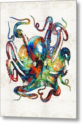 Colorful Octopus Art By Sharon Cummings Metal Print by Sharon Cummings