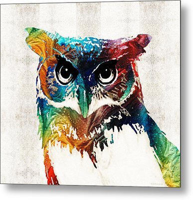 Colorful Owl Art - Wise Guy - By Sharon Cummings Metal Print