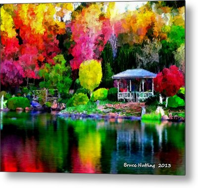 Metal Print featuring the painting Colorful Park At The Lake by Bruce Nutting