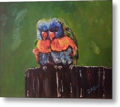 Colorful Parrots Metal Print