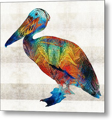 Colorful Pelican Art By Sharon Cummings Metal Print