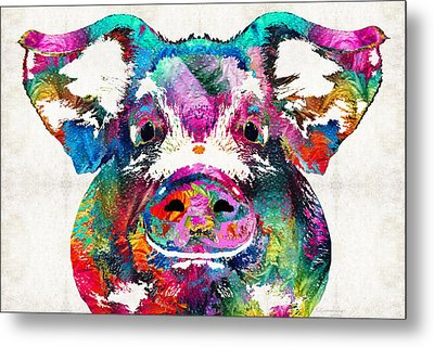 Colorful Pig Art - Squeal Appeal - By Sharon Cummings Metal Print by Sharon Cummings