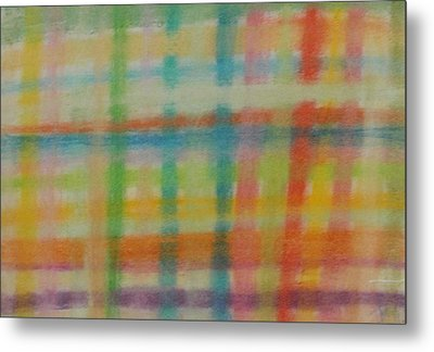 Metal Print featuring the drawing Colorful Plaid by Thomasina Durkay