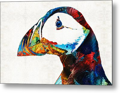 Colorful Puffin Art By Sharon Cummings Metal Print by Sharon Cummings